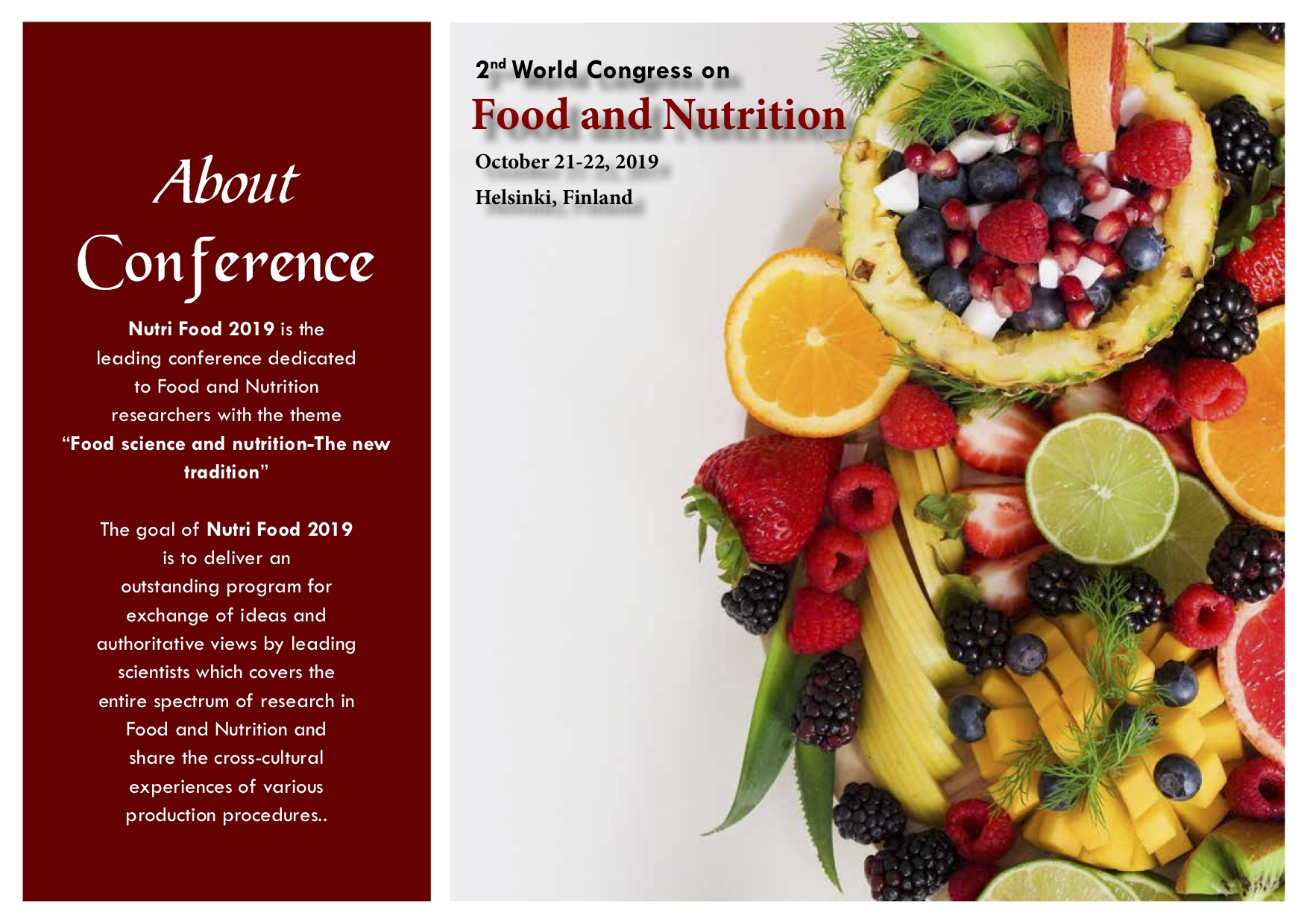 2nd World Congress on Food and Nutrition - Middle East Conferences